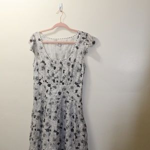 Cotton Floral Maxi Dress with Cap Sleeves